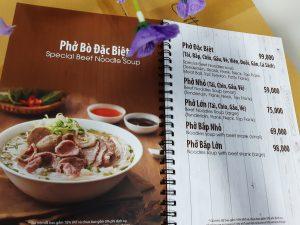 mẫu menu quán phở in trên giấy nhựa